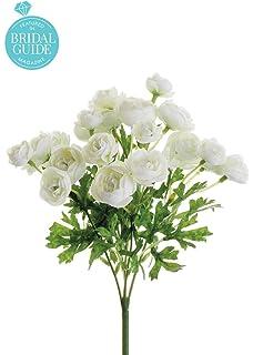 Amazon classic silk white stephanotis 5 stems wrapped in raffia afloral mini silk ranunculus bush in white cream 10 tall mightylinksfo