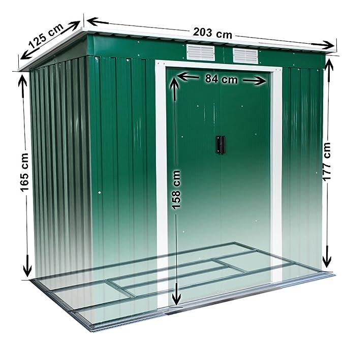 TecTake Caseta jardín metálica de metal para herram invernadero almacén 203x125x177 cm: Amazon.es: Hogar