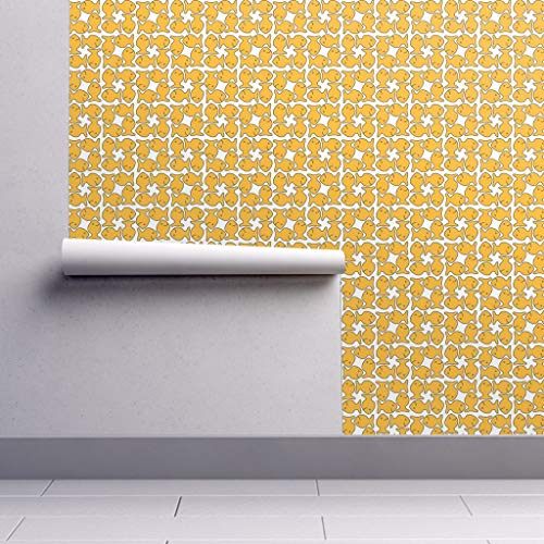 - Removable Water-Activated Wallpaper - Fish Crackers Fish Crackers Gold White Food Snacks Fish Food Snack Gold Animal by Sixsleekswans - 24in x 60in Smooth Textured Water-Activated Wallpaper Roll