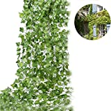 UARTER Artificial Fake Plastics Wedding Ivy Vine Hanging Plants Flowers Greenery Leaves Tree Wreath Garden Kitchen Home Decoration, 12Pcs