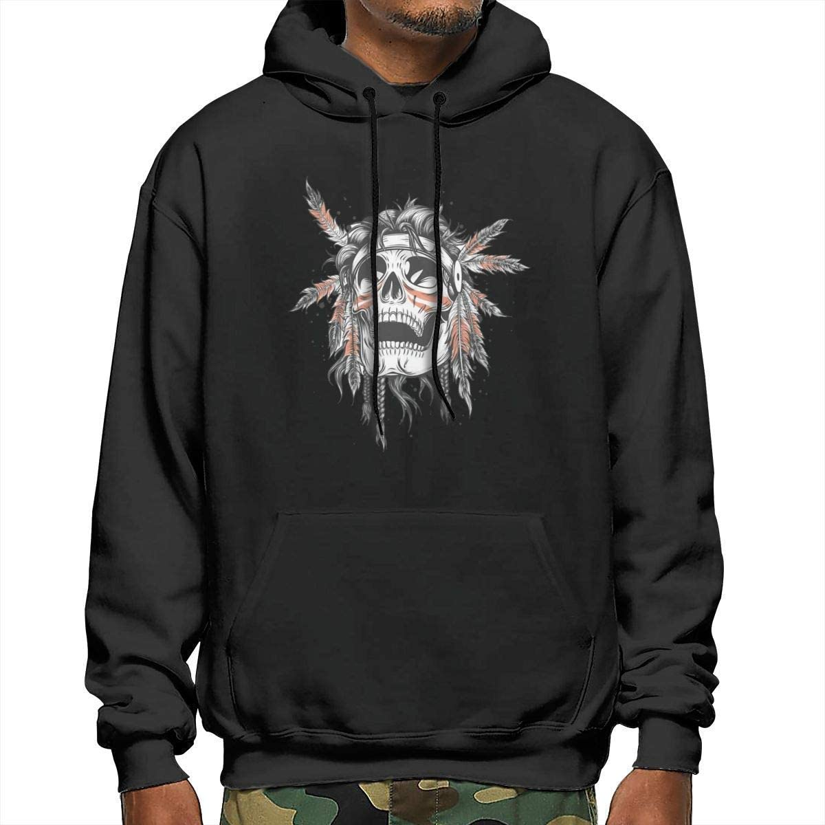 YCR4FC Indian Chief Skull Illustration Mens Winter Comfortable Polyester Long Sleeve Hooded Sweatshirt Sweater Black