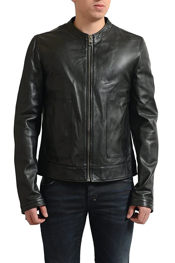 Dolce & Gabbana Men's Black 100% Leather Full Zip Basic Jacket.