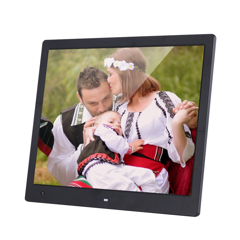 Andoer 16 Inch Wide Screen 1600 1200 High Resolution LED Digital Photo Frame Digital Album with Remote Control Motion Detection Sensor Support Audio Video Playing Clock Alarm Calendar Functions