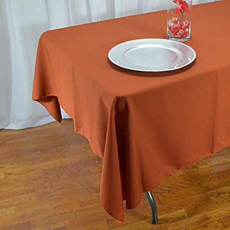 Delicieux Rust Polyester Rectangle Tablecloth 60 X 108 Inches
