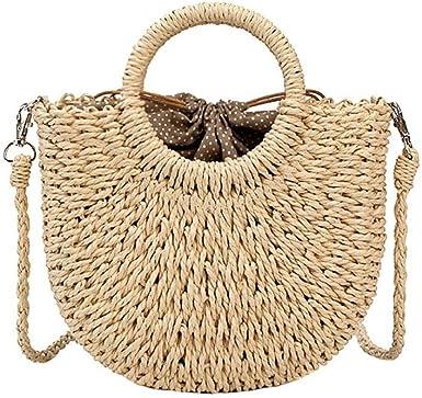 Bolso de mujer, Bolso de playa de lino de Paja, Bolso grande