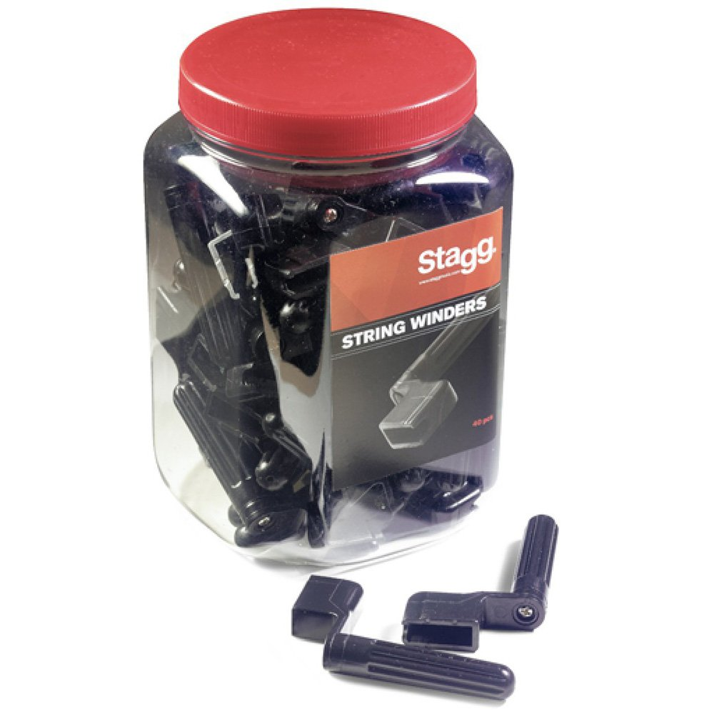 Stagg GSW-40 Jar String Winders - Black (Pack of 40) GSW-40 BK