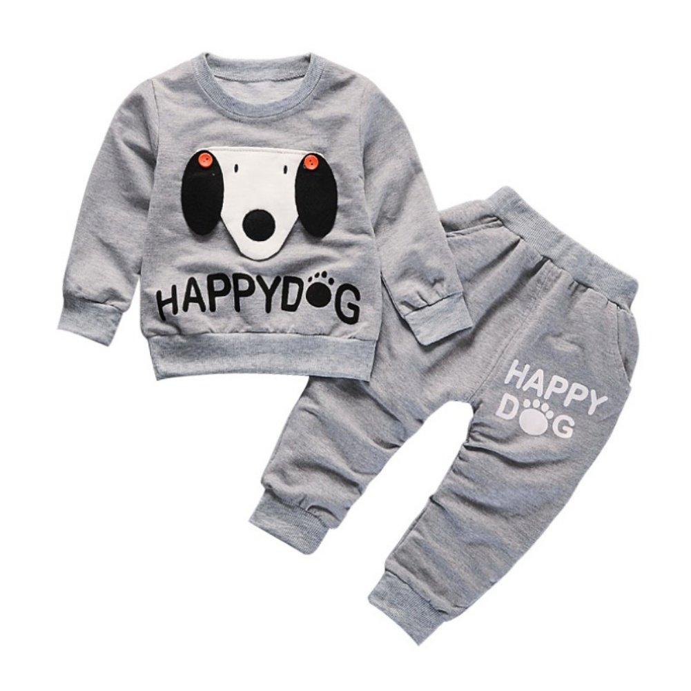 Blaward 3 Pezzi Set per Bambino Cane Fumetto Manica Lunga Tops Camicia + Pantaloni Lunghi Set di Vestiti per Ragazzi Autunno