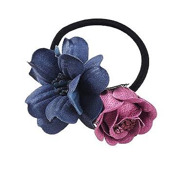 Women Girls Floral Elastic Hair Bands Rubber Bands Flower Scrunchy Fashion