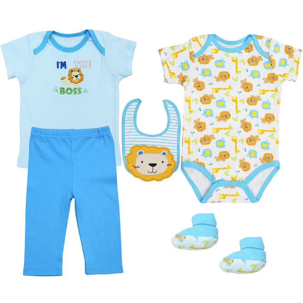 Bebé Camiseta Body Manga Corta Babero Pantalones y Calcetines, 5 Piezas Ropa de Bebé B160815PF00360D