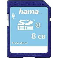 Hama Geheugenkaart SDHC 8 GB (SD-2.0 standaard, klasse 10, gegevensbeveiliging dankzij mechanische schrijfbescherming…