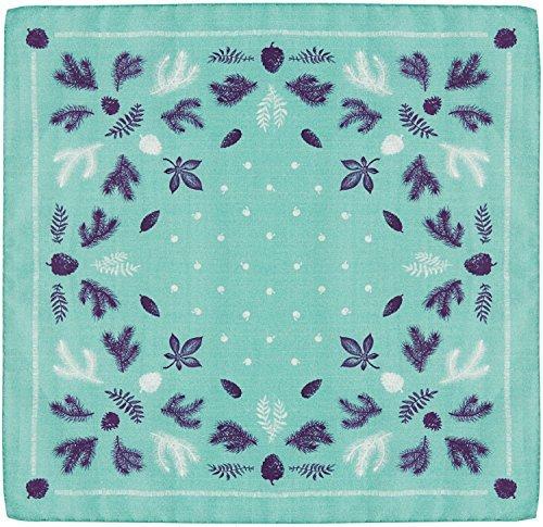 R. Culturi Made in Italy Original Artwork Silk Cotton Pocket Square (Teal/Blue) RCM006