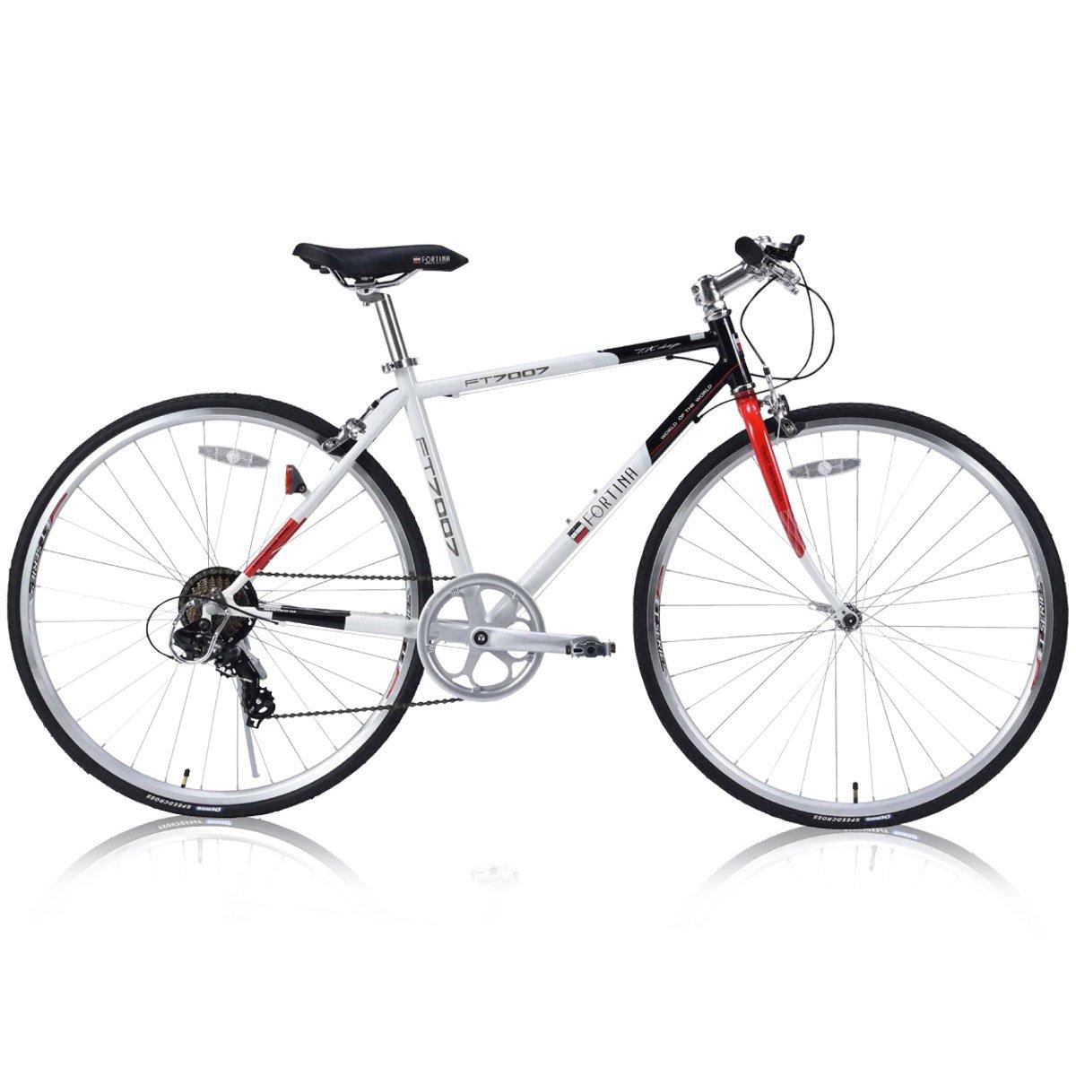FORTINA(フォルティナ) FT-7007 クロスバイク700C シマノ製7段変速付(サムシフター) 軽量設計 クイックレリーズ 高さ調整可能Aヘッドスタイルステム B07D59LVMYスノーパールトリコ
