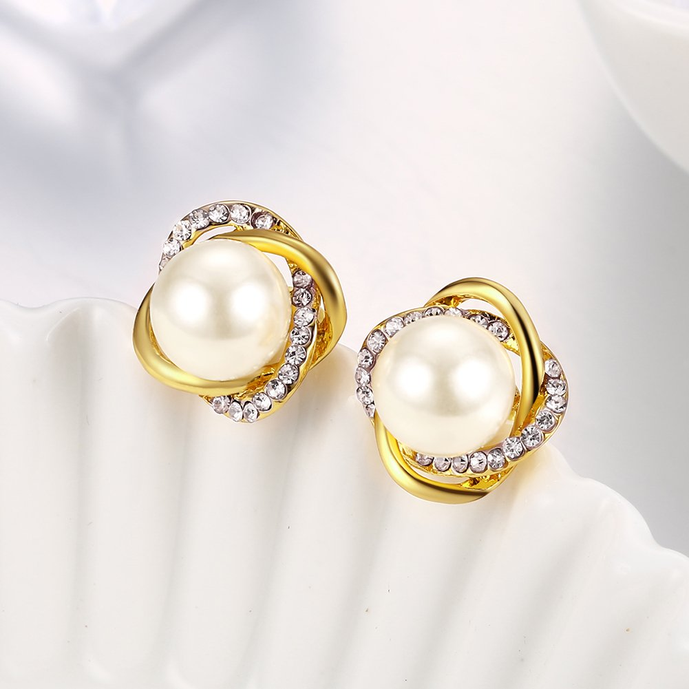 14K Gold Rose Gold Palted CZ Simulated Diamond Pearl Stud Earrings For Women Girls Maxilei US/_JWE/_B07CJS44DP