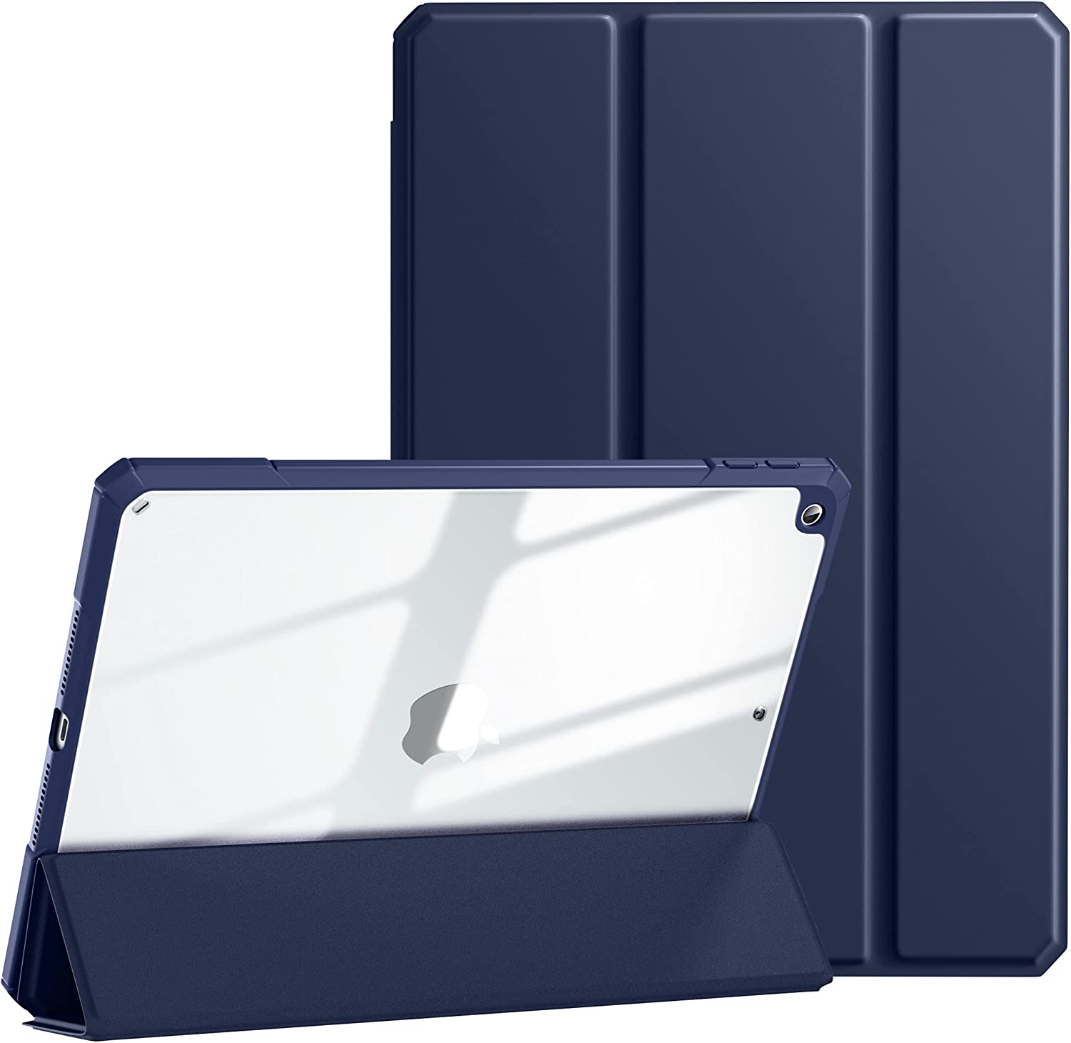 Mastten Compatible with iPad 8th Generation Case, iPad 7th Generation Case, iPad 10.2 Inch Case with Pencil Holder, Trifold Stand Clear Back Shell for iPad Case, Auto Sleep/Wake, Navy Blue