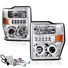 VIPMotoZ 2008-2010 Ford F-250 F-350 F-450 F-550 Superduty Projector Headlights - Built In Cree LED Low Beam, Metallic Chrome Housing, Dual Halo Ring & Daytime Running Lamp, Driver and Passenger Side