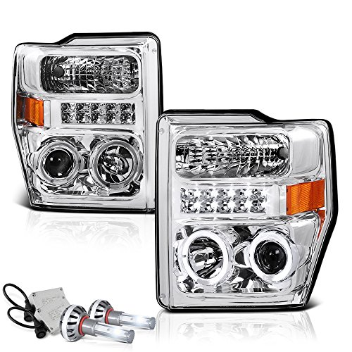 VIPMOTOZ LED Halo Ring Chrome Housing Projector Headlight Assembly For 2008-2010 Ford Superduty F-250 F-350 F-450 Pickup Truck - Built-In Diamond White CSP LED Low Beam, Driver & Passenger Side