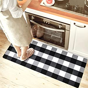 USTIDE Black&White Buffalo Check Laundry Room Mat for Wash Room Nonskid Rubber Backed Waterproof Kitchen Rug 2x4