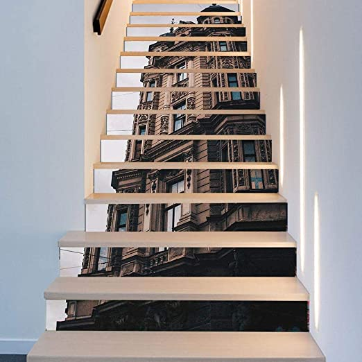 QJKai Creativo 3D Moderno Edificio Etiqueta de la Pared removible Escalera Pegatina Escalera Etiqueta de la Pared 3D Etiqueta engomada de la Pared 3D Pegatina de la Escalera: Amazon.es: Hogar