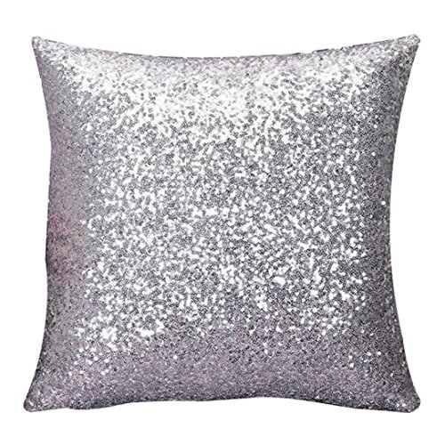 Throw Pillow Case Decorative, Winhurn pillowcase covers with zipper Solid Color Glitter Sequins Square Cushion Cover/Case Zippered Pillowcase 40×40 pillows decorative