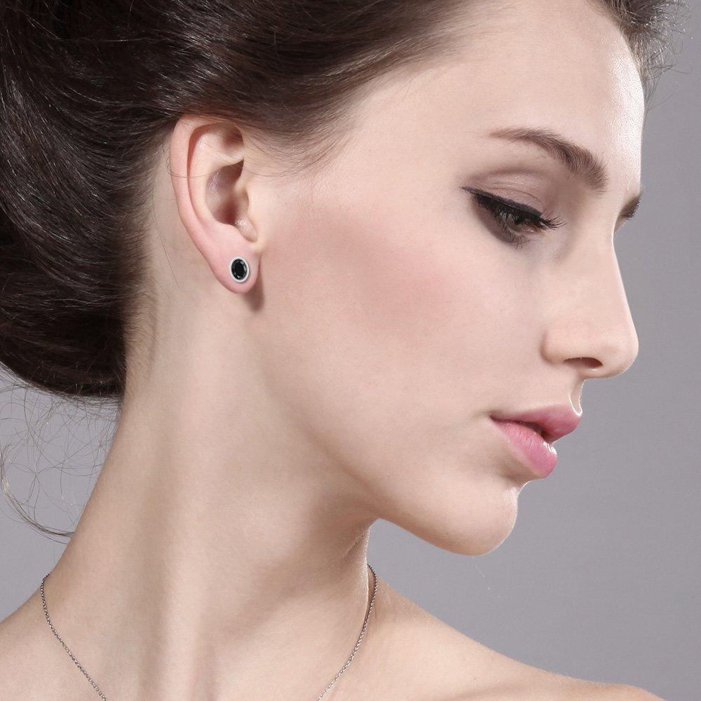 Gem Stone King 2.14 Ct Oval 7x5mm Black Sapphire 925 Sterling Silver Stud Earrings