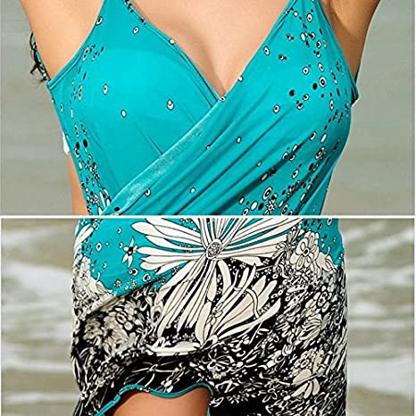 15c9cead3a Image Unavailable. Image not available for. Color  Umeshi Women Beach Dress  Sexy sling beach wear dress sarong bikini cover-ups wrap Pareo