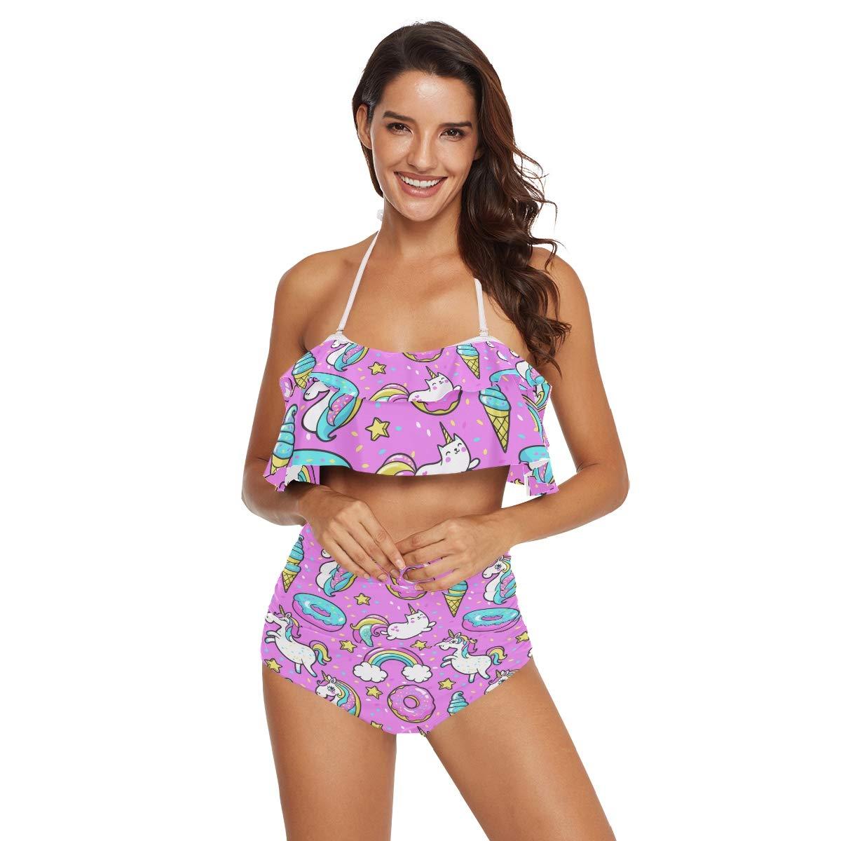 1e8bc84aa0fb2 Amazon.com: Women Pink Unicorn Donut Rainbow Ice Cream Ruffle Top Bikini  Set: Clothing