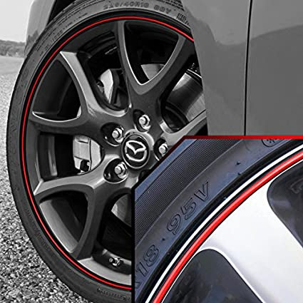 Mazda 3 Rims >> Amazon Com Upgrade Your Auto Wheel Bands Red In Black Pinstripe Rim