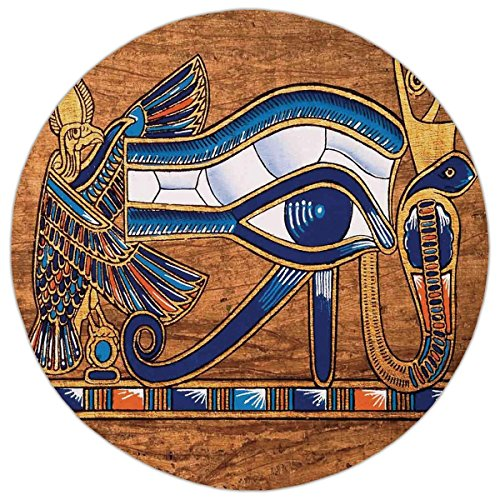 Round Area Rug Mat Rug,Egyptian,Egyptian Ancient Art Papyrus Depicting Horus Eye Mosaic Design,Navy Blue Orange and Brown,Home Decor Mat with Non Slip Backing -
