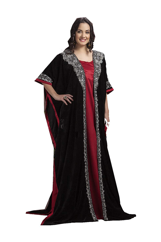 Black, Red 6 Da Facioun Indian Women Designer Latest Fancy Party Wear Heavy Kaftan