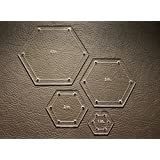 "Hexagon Quilting Template Set, 4"", 3"", 2"", 1"" with 1/4"" Seam Allowance"