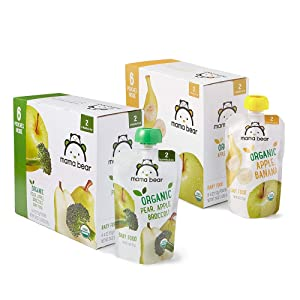 Amazon Brand - Mama Bear Stage 2 Pear Apple Broccoli and Apple Banana Variety Pack, 4oz Pouches (Pack of 12)