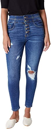 Kan Can Women S Super High Rise Button Fly Curvy Fit Jeans Kc6281 At Amazon Women S Jeans Store