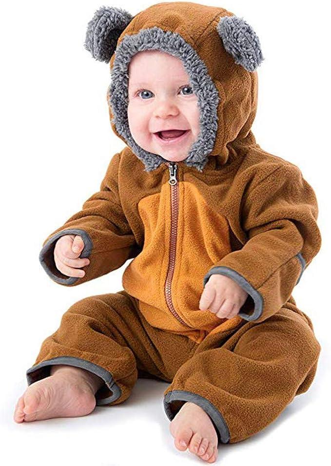 REALIKE Babykleidung Baby Unsix Winter Fleece Overall mit Kapuze M/ädchen Jungen Strampler Langarm Baumwolle Jumpsuit Cute Footed Spielanzug Winterjacke S/äugling Outfits Mantel
