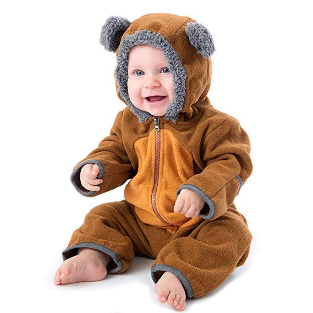 Kobay Baby Unisex Romper, Infant Toddler Baby Girls Boys Cartoon Ears Hoodie Rompers Zip Clothes Jumpsuit Bodysuit Clothes