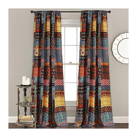 "Lush Decor Misha Room Darkening Window Curtain Panel Set, 84"" x 52"", Multicolor - Stylish and bold set of curtain panels with a colorful, geometric, patchwork design throughout. Room darkening window curtains filter a portion of light and heat, but allow for some natural light to come through. Curtains measure 84""H x 52""W and an eye-catching piece to your bedroom, living room or dining room. - living-room-soft-furnishings, living-room, draperies-curtains-shades - 61F5In2HKqL. SS570  -"