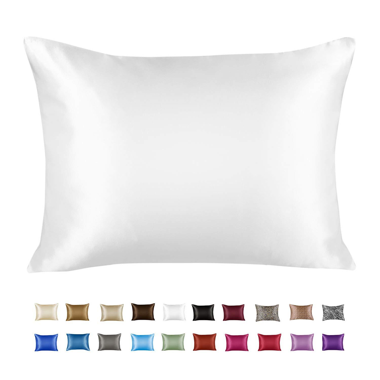 Shop Bedding Luxury Satin Pillowcase for Hair – Queen Satin Pillowcase with Zipper, White (1 per Pack) – Blissford