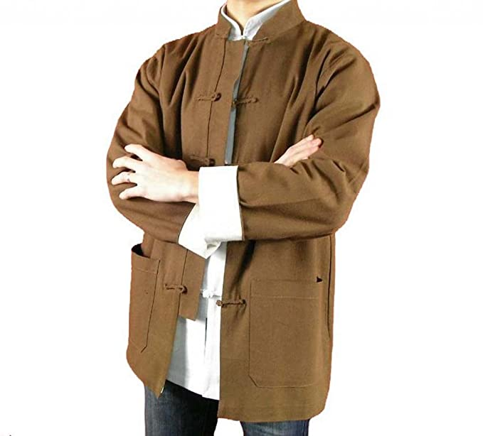 269509d892 Image Unavailable. Image not available for. Colour  Fine Linen Brown Kung  Fu Martial Arts Tai Chi Jacket ...