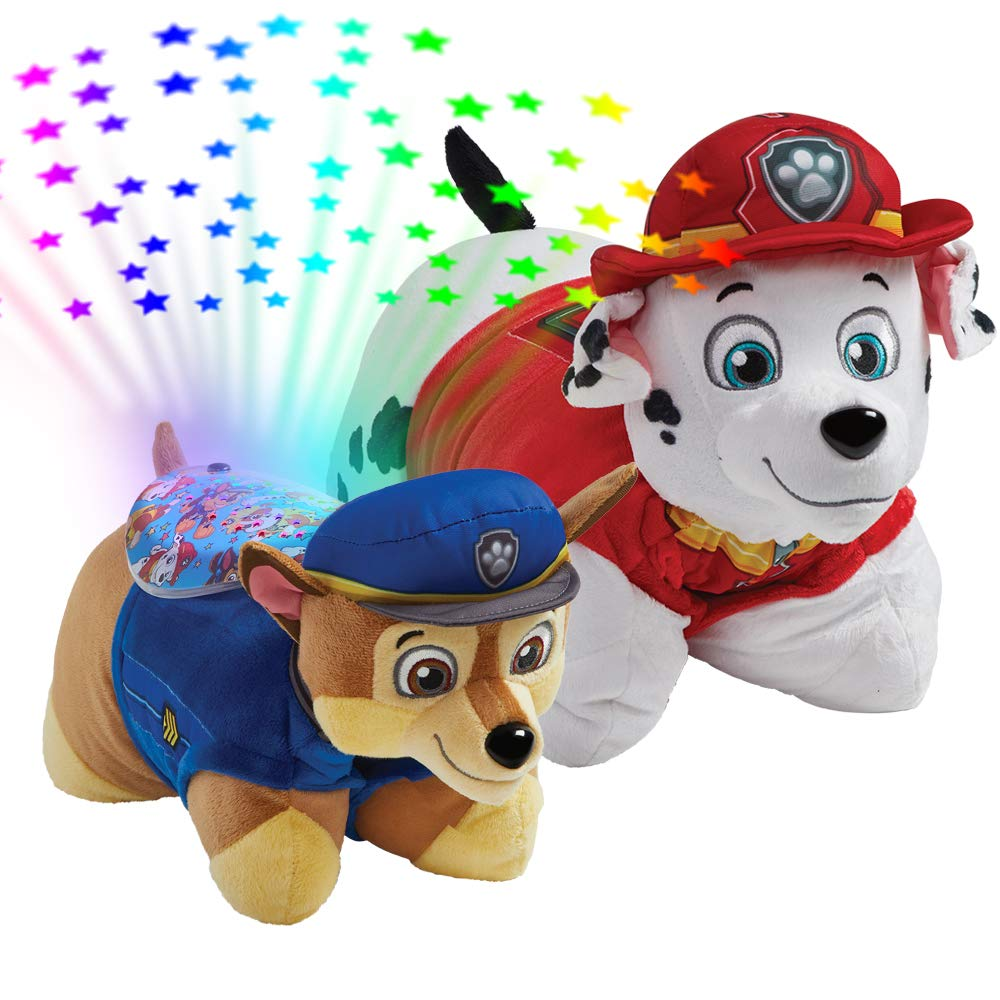 Pillow Pets Nickelodeon Paw Patrol, 16'' Marshall and Chase Sleeptime Lites, Stuffed Animal Plush Toy and Night Light