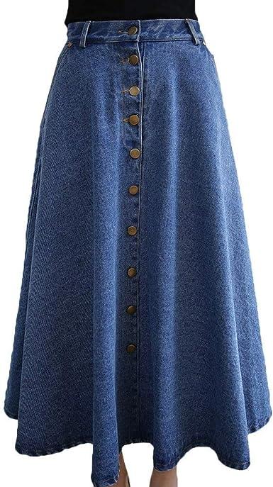 Faldas Mujer Elegante La Rodilla Falda Maxi Otoño A-Línea Denim ...