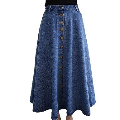 Faldas Mujer Elegante La Rodilla Falda Maxi Otoño Falda Denim A ...