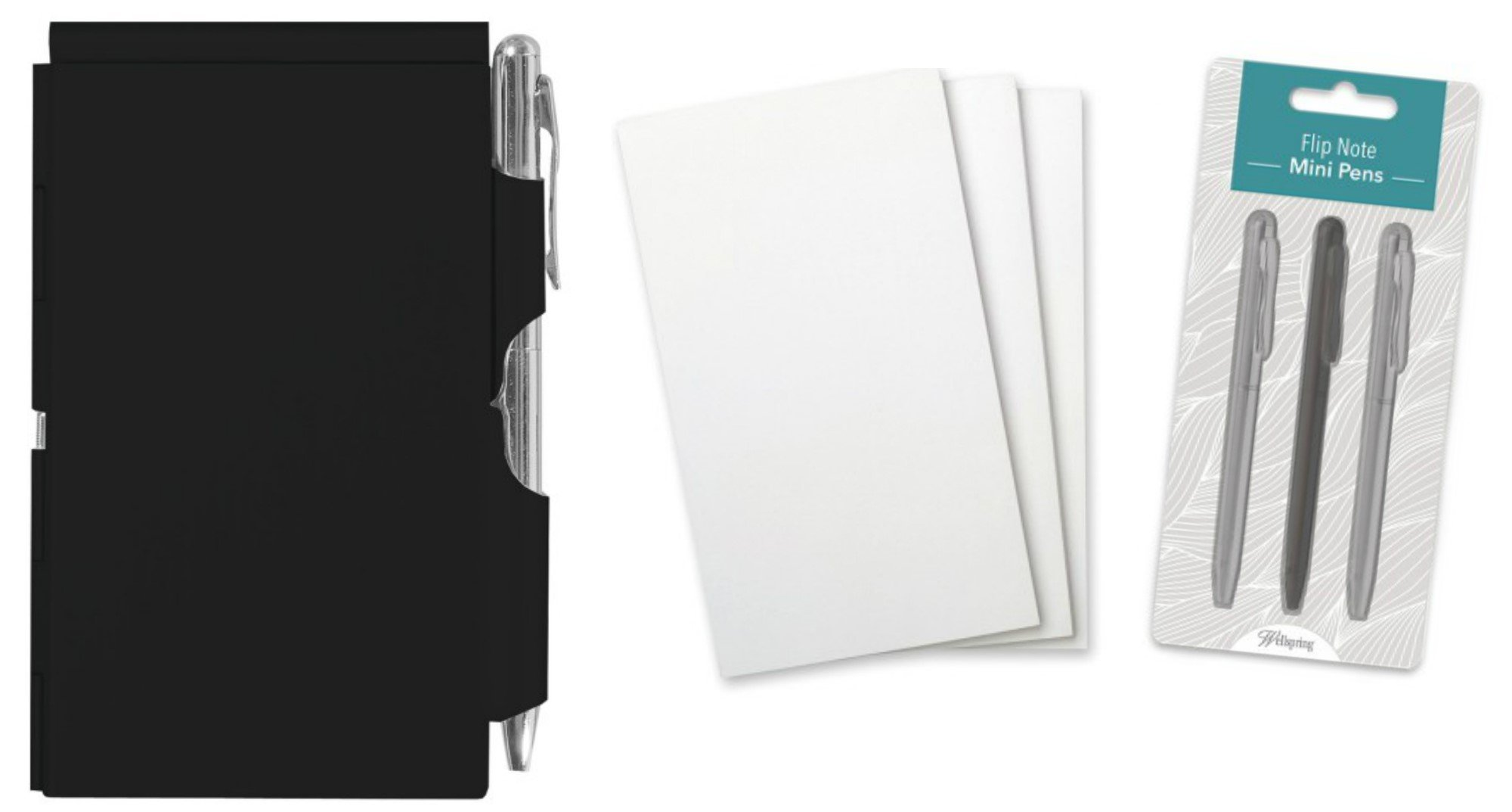 Wellspring Flip Note Notepad Set: Black Flip Note, 3 Flip Note Refill Pads and a 3 Mini Pen Refill by Wellspring (Image #1)