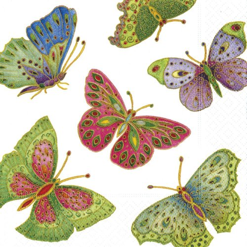 Entertaining with Caspari Jeweled Butterflies Paper Cocktail Napkins, Ivory, Pack of ()