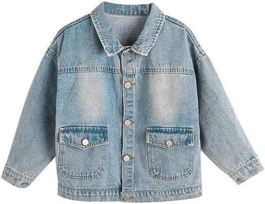 LEEFTM Ropa para Niños Abrigo Bordado para Niñas Primavera Y Otoño Camisa Vaquera De Tendencia para Niños En La Chaqueta De Otoño Big Boy,Blue-4-5Years(120): Amazon.es: Hogar