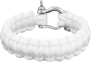 Extérieur en acier inoxydable manille Cobra Weave White Survival Bracelet