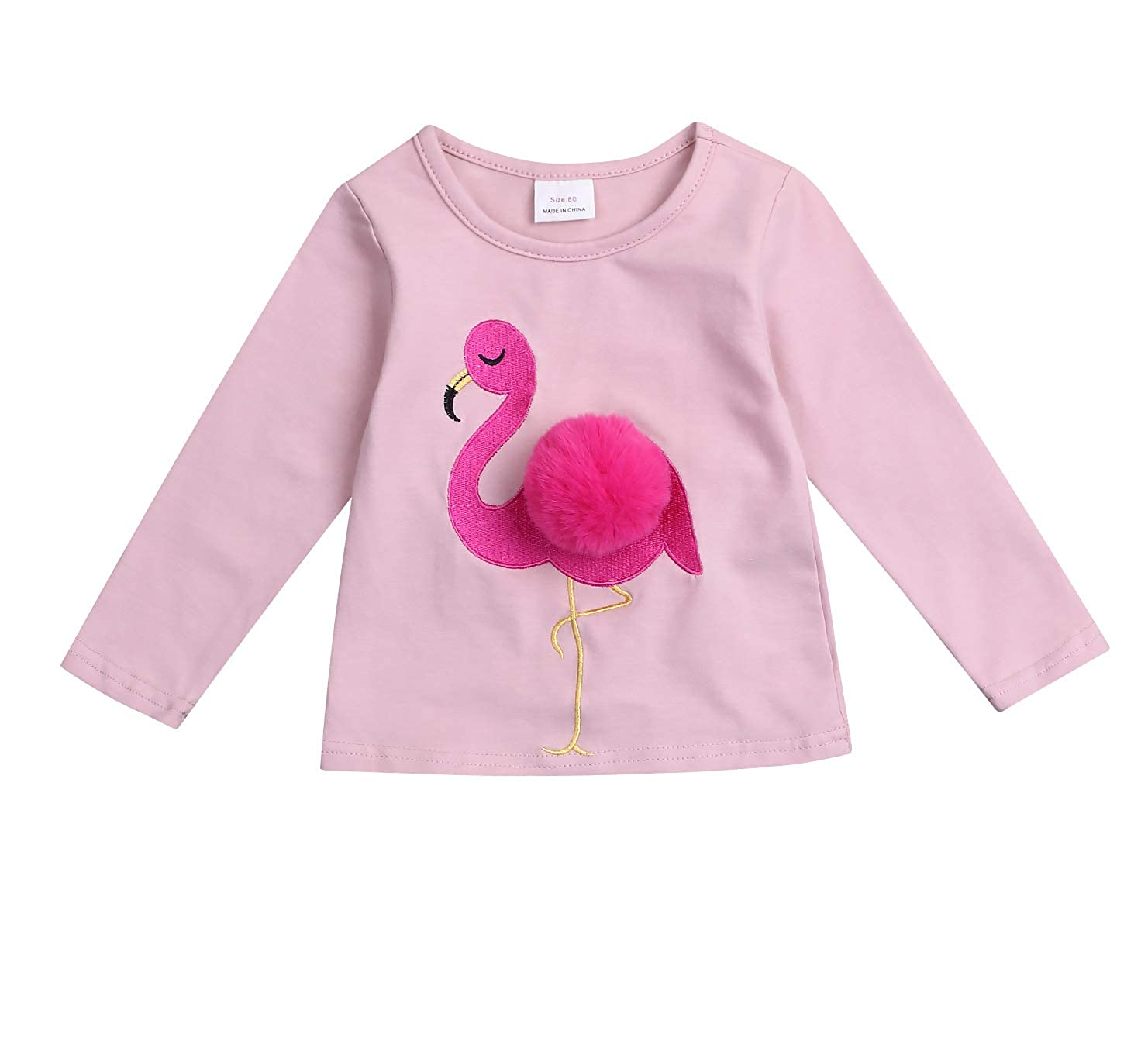 Younger star Baby Girl Pink Flamingo Tops Long Sleeve Cotton T-Shirts Kids Cute Tee Tops