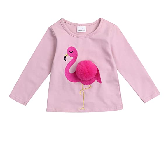 99a1e324 Younger star Baby Girl Pink Flamingo Tops Long Sleeve Cotton T-Shirts Kids  Cute Tee