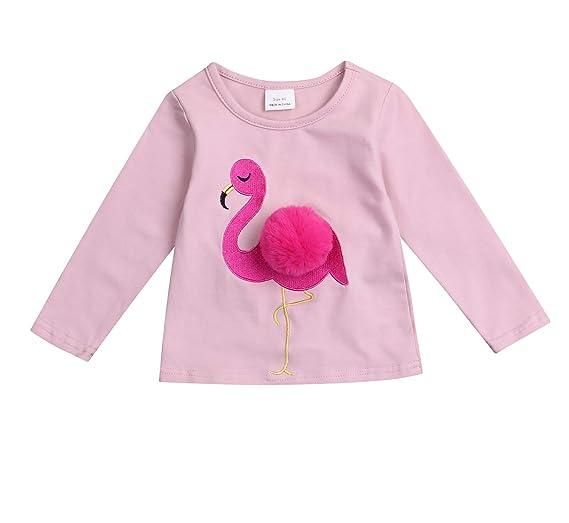 0e08495b746f Younger star Baby Girl Pink Flamingo Tops Long Sleeve Cotton T-Shirts Kids  Cute Tee