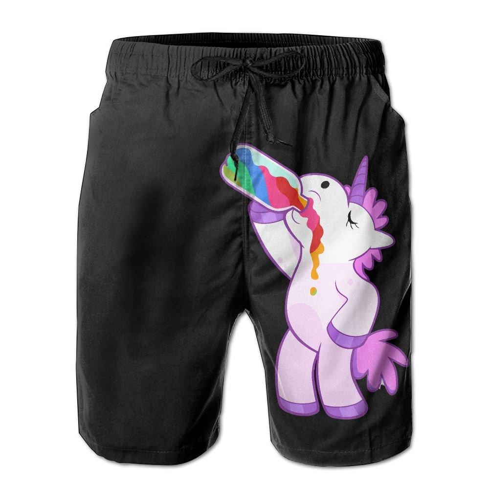 Unicorn Drink Newest Men's Workout&swim Trunks Quick Dry Board Shorts
