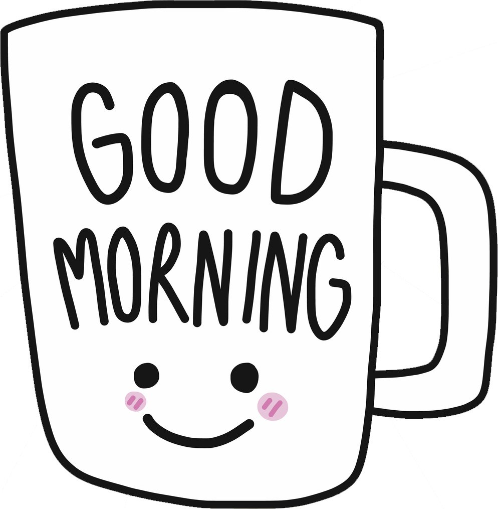 Amazon com cute happy smiling good morning coffee mug cartoon vinyl sticker 8 tall automotive