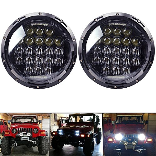 COWONE 7 Inch Round 5D 2018 Newest Design 130w Philip LED Projector Headlight with DRL for Jeep Wrangler JK TJ LJ CJ Harley Motorcycle